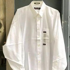 Kirkland Signature Men Dress Shirt 17 x 34 White